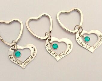Personalised bridesmaid gift - maid of honour gift - wedding party gift - wedding party keychains - heart keyrings - birthstone keyrings