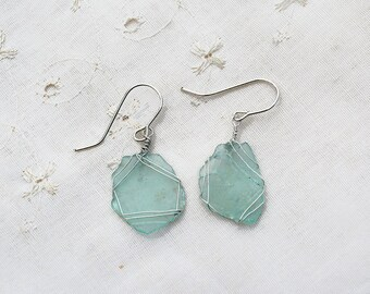 Matte Ancient Roman Glass Earrings in Silver Wire. Roman Glass Jewelry. Handmade Israeli Earrings Light Weight. Made in Israel Free Shipping
