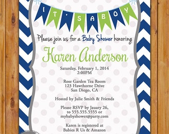 Navy Blue Lime Green Baby Shower Invitation Navy Chevron Pennant Bunting Invite It's a Boy Baby Shower Invitation 5x7 Digital JPG (146)