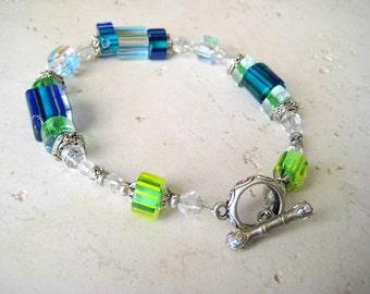 Aqua and Lime Glass Beads Bracelet