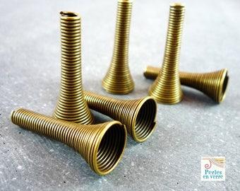 6 maxi 24X10mm bronze spiral bead caps (pm218)