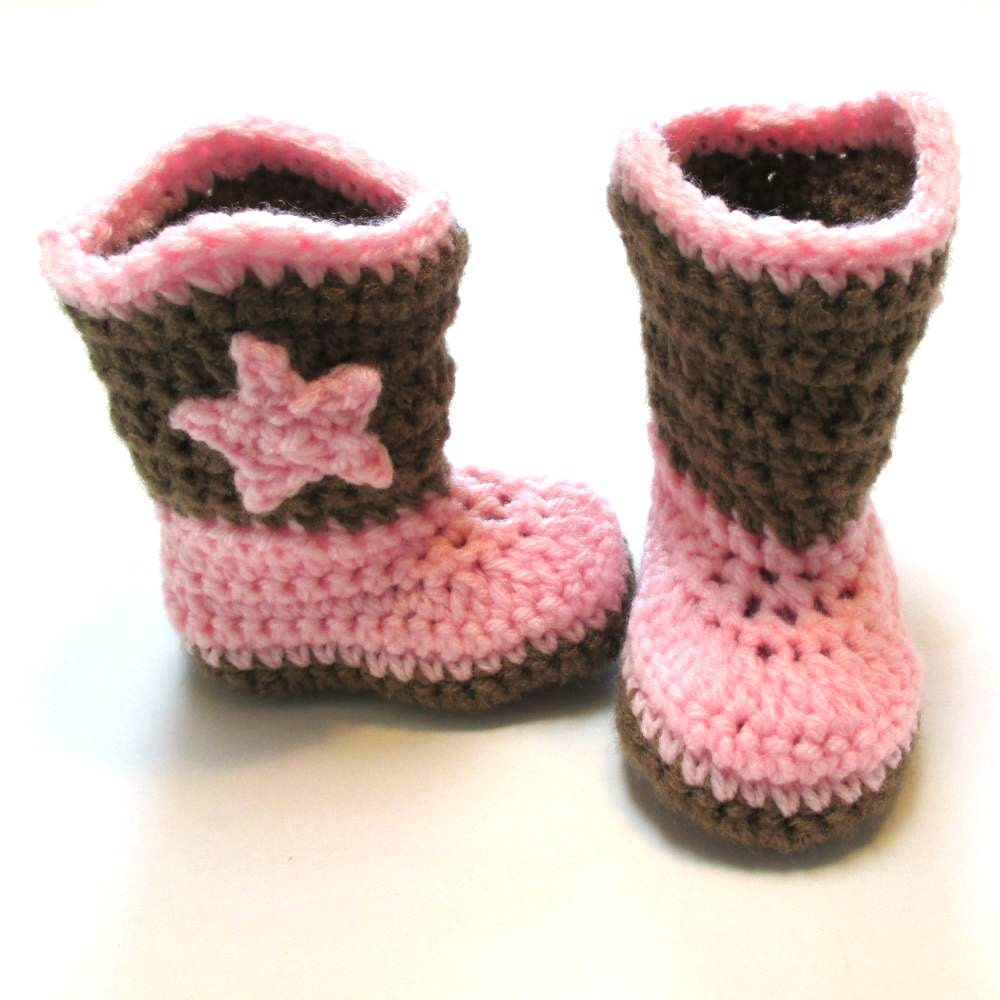 Newborn baby girl cowboy boots. Pink and brown. Made to