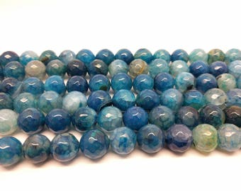 Faceted Beads Blue Agate Beads 12 mm Blue Agate Faceted 12 mm Beads Big Beads for Jewelry Mala Beads Blue Beads 12 mm Agate Beads
