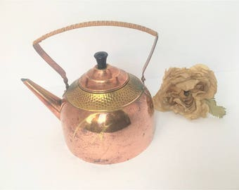 Decorative Copper Kettle with Wicker Handle / Copper Kettle / Vintage Copper Kettle / Copper Pot / Copper Kitchen / Copper Decor