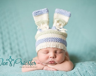Hand knit baby hat newborn photo prop bunny ears rabbit hat bows cream blue green stripes boy pure australian merino photography prop