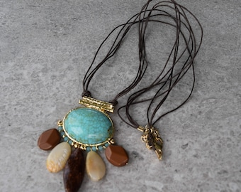 Boho Southwestern Turquoise Necklace, Goldtone Dangling Natural Faux Stones