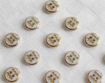 24  beautiful 2-hole opaque white glass buttons with very  fine golden trim - (13 mm - 1/2 in.)