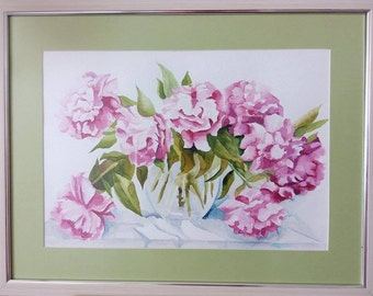 Peony Framed Watercolor Painting
