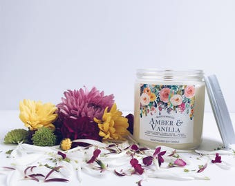 AMBER & VANILLA Wood Wick Soy Candle | 16 Ounces
