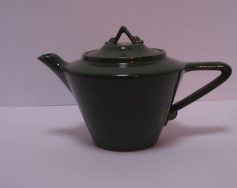 Homer Laughlin Harlequin, Forest Green Teapot, 2 chips.  :(
