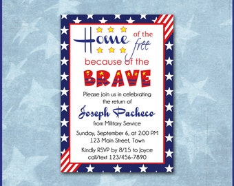 Patriotic Invitation / Army Navy Air Force Marine Corp Coast Guard / Homecoming or Deployment / Military Service / USA Red White & Blue DIY