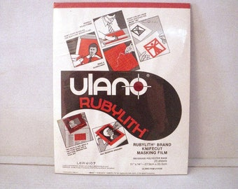 Ulano RUBYLITH Red Masking Film 300 Gauge Sealed Package 25 sheets 11 x 14