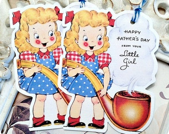 Vintage Retro Happy Father's Day Tags - Set of 6