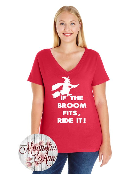 If the Broom Fits, Halloween, Women's Premium Jersey V-Neck T-shirt in Sizes Small-4X, Plus Size Clothing, Plus Size Halloween, Curvy