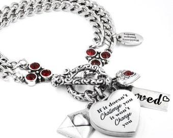 Silver Heart Bracelet, Personalized Birthstone Heart, Heart Charm Bracelet, Birthstone Heart Bracelet, Quote Bracelet
