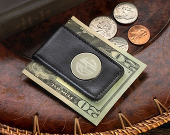 Personalized Leather Magnetic Money Clip - Father's Day Gift - Dad's Money Clip - Personalized Money Clip - Personalized Magnetic Money Clip