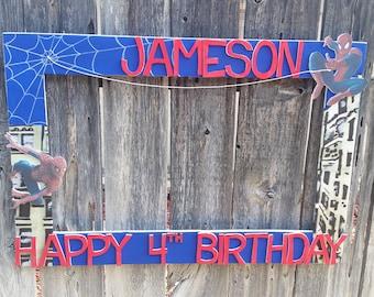 Birthday, Baby Shower, Wedding,Spiderman Birthday, Graduation or Baby Shower Party Photo Prop Frame