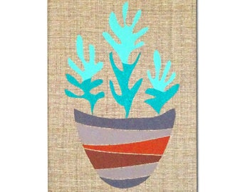 "Embroidered Wall Hanging - ""Succulents"""