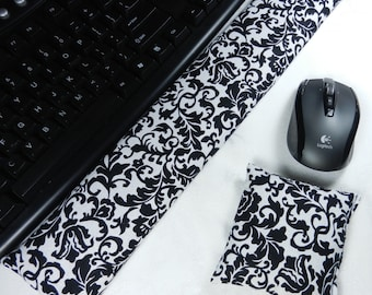Computer Keyboard Wrist Rest and optional Mouse Wrist Rest Set in Black and White Damask- Wrist Support