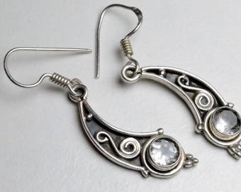Vintage Sterling Silver Modern Bohemian Style Pierced Dangle Earrings