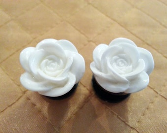 White Rose Plugs sizes 0g - 1 Inch Double Flare or Single Flare