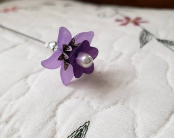 Hat Pin Victorian, Antique Inspired Purple, Pearl & Filigree Silver, Scarf Pin, Stick Pin, Hatpins. DISPLAY or USE! Strong, Clutch Included