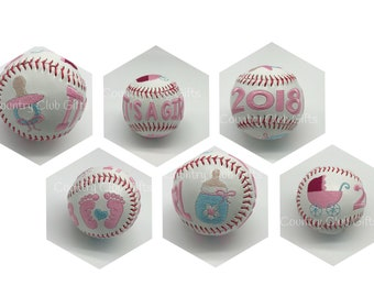 Unusual Baby Gift   gender reveal   baby girl gift   birth stat baseball   new baby gift   embroidered baseball   Personalized   Baby Shower