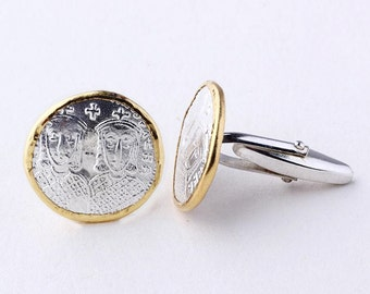Silver Coin Cufflink | Ancient Silver Coin | Round Cufflink | Gift for Men | Gold Plated Cufflink | Coin Jewelry | Silver Gold Cufflink Mens