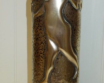 French Trench Art, Gun Shell Case. Repoussé Cherub Holding a daisy and playing the Trumpet Trench Art  (4715)