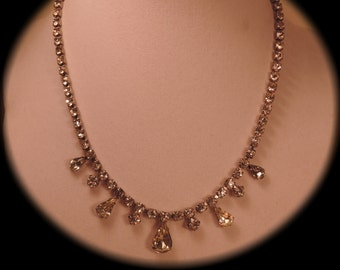 Rhinestone Drop Necklace 1950s