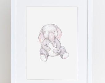 Elephant nursery art print, baby elephant illustration, animal drawing, baby gift , baby decor, cute art, kids wall print,  present for baby