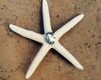 Mermaid Bridal Starfish with rhinestone hair clip