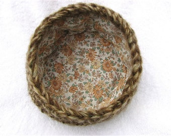 Fabric Lined Brown Fuzzy Crochet Bowl/Basket With Floral Fabric