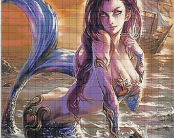 BUY 2, GET 1 FREE! Mermaid Mystic 627 Cross Stitch Pattern Counted Cross Stitch Chart, Pdf Format, Instant Download /253330