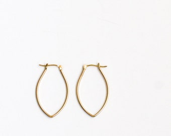 "Solid 14K gold earrings handmade in an alternative modern style for comfort to be worn for that special outing - ""Petite Porter Hoops"""