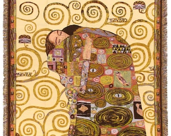 Cream Klimt Throw Blanket - The Fulfilment Tapestry Throw - 56x56 Belgian Tapestry Throw - Gustav Klimt Design Throw Blanket - TT-7143/40