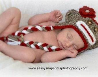 Newborn sock monkey hat, girl or boy