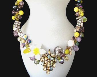 Free shipping to US. Spring Glory. A Unique Wearable Art necklace comprised of vintage Crystals, Designer jewels, and vintage Components.