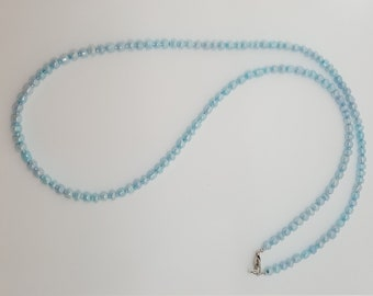 Light Blue Glass and Seed Bead Necklace