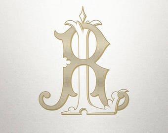 Ornate Monogram Design - LR RL - Ornate Monogram - Antique
