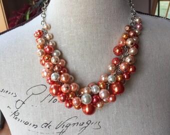 Chunky orange Pearl necklace, wedding jewelry, coral Pearl necklace, cluster pearl necklace