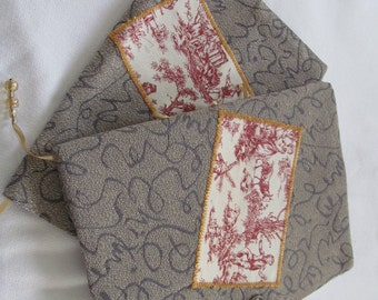Red and Gray Book Cover and Journal Set Red Toile on Beige Aluminum Gray Scribbles Fabric