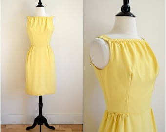 Vintage 60's sunshine yellow dress with skinny bow back