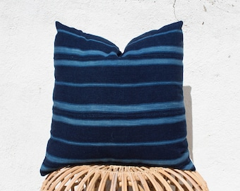 Indigo Striped Mudcloth Pillow Cover with Insert / 20x20 / Navy Blue