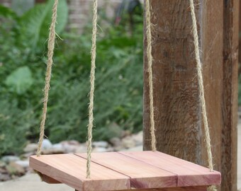 """Rustic Hanging Shelf, reclaimed Texas Cedar, Large 24"""" x 15.75"""" or Small 12""""x12"""" rustic home decor, bedside table"""