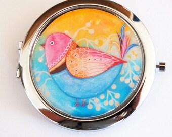Bird compact mirror, mirror, purse mirror, travel mirror, compact mirror, pocket mirror, double sided mirror, blue, yellow, bird (2132)
