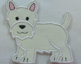 West Highland Westie Terrier Dog Fabric Embroidered Iron On Applique Patch Ready to Ship