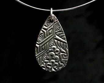 Textured sterling silver pendant teardrop silver pendant art deco pendant sterling silver pendant silver pendant silver jewelry
