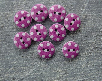 Set of 9 buttons with polka dots