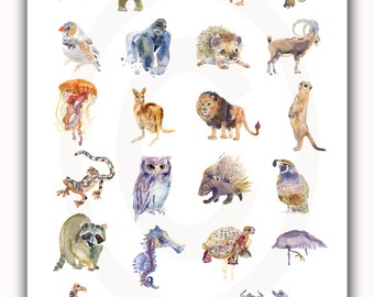 Childrens Art - Animal Painting - A-Z  Animal Poster - Watercolor  Painting - Nursery Art Print
